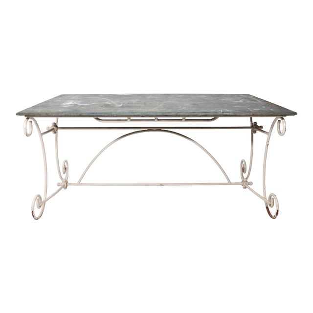 White Scroll Base Garden Dining Table For Sale