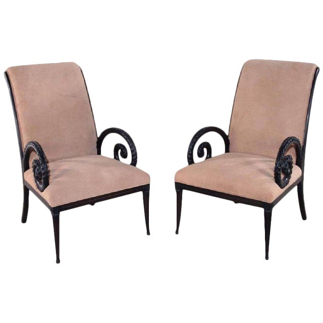 1940s Regency Grosfeld House Ebonized Scrolled Armchairs - a Pair For Sale