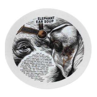1960s Fornasetti Elephant Ear Improbable Recipe Plate for Fleming Joffe Leather Co. For Sale
