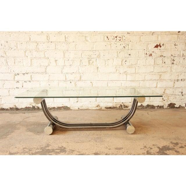 Deco Chrome Coffee Table: Vintage Romeo Rega Style Art Deco Chrome & Glass Coffee