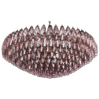 1970s Round Chandelier With Amethyst Polyhedron Glass For Sale
