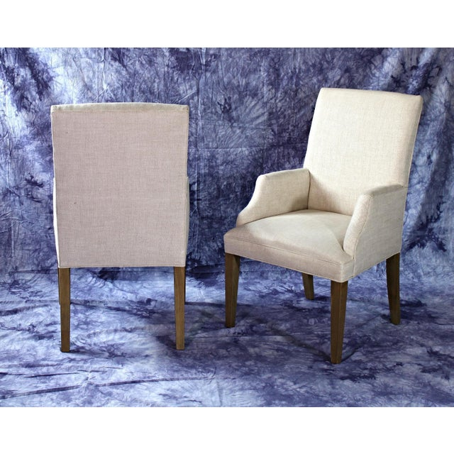 Fabric Modern Upholstered Armchairs - A Pair For Sale - Image 7 of 11