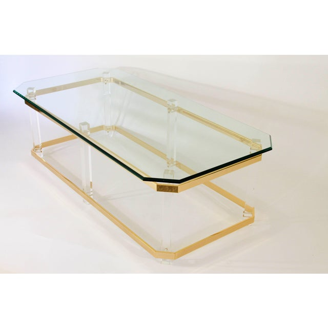 Charles Hollis Jones Lucite and Brass Coffee Table For Sale - Image 4 of 7