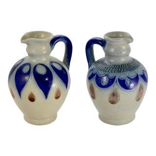 1950s Blue German Salt Glaze Pottery - a Pair For Sale