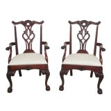 Image of Henredon Ball & Claw Mahogany Arm Chairs- A Pair For Sale