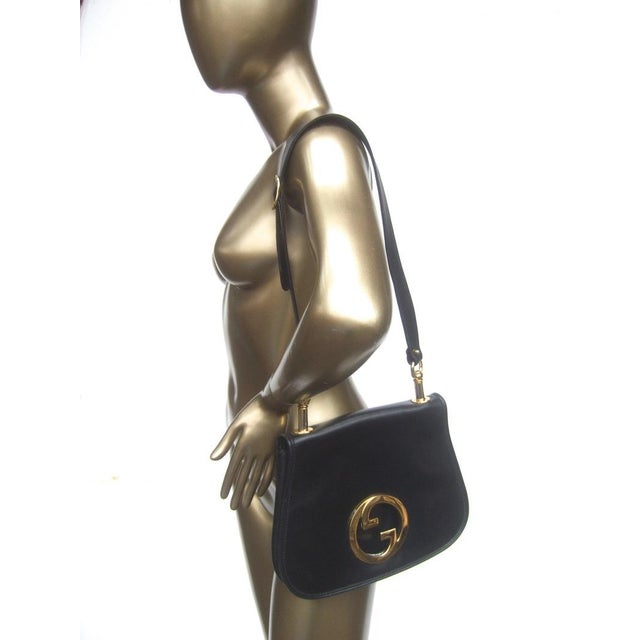 Black 1970s Gucci Italy Ebony Leather Blondie Shoulder Bag For Sale - Image 8 of 11