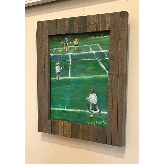 """The Tennis Game"" Original Oil Painting Framed Painting by Nancy T Van Ness For Sale - Image 4 of 13"
