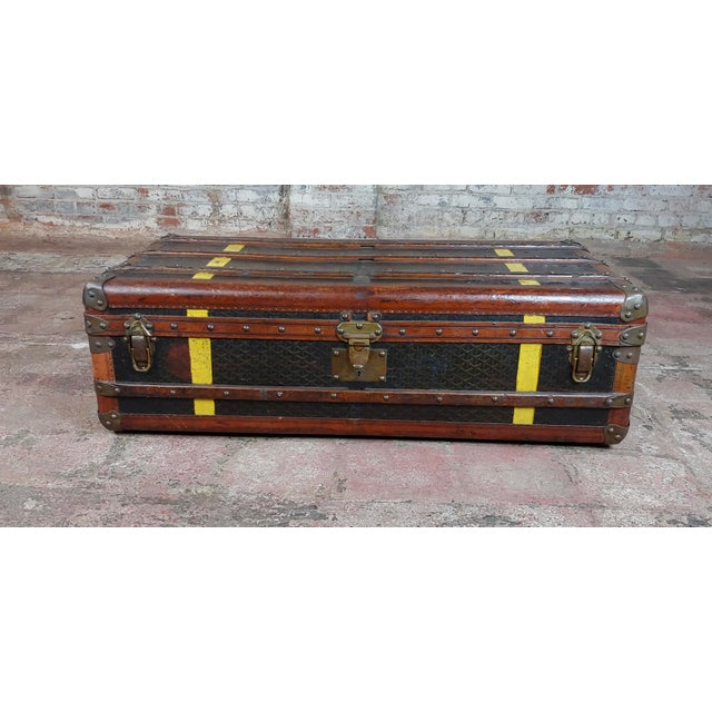 Goyard 1920s Beautiful French vintage Leather steamer trunk Interior fitted with removable lined packing tray compartment,...