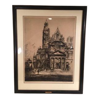 Louis Orr Etching of Paris Church