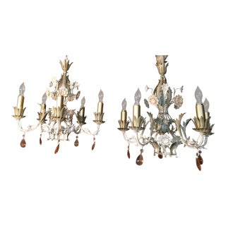 Floral Italian Tole Chandeliers - A Pair For Sale