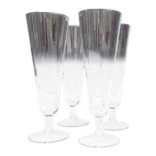 1960's Tall Silver Fade Dorothy Thorpe Style Tapered Bar Glasses - Set of 4 For Sale