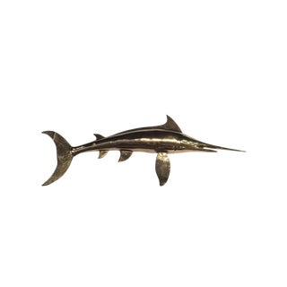 Vintage Brass Sailfish Marlin Fish Wall Mount For Sale