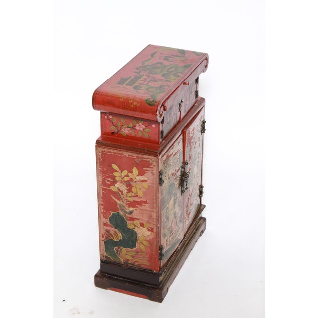 Chinoiserie Chinoiserie Diminutive Cabinet With Painted Scenes For Sale - Image 3 of 7