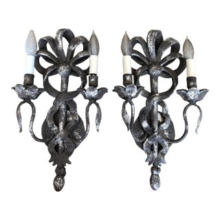 Mid 20th Century Wood Florentine Silver Sconces - a Pair For Sale