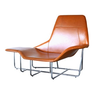 Modern Leather and Chrome Chaise Lounge Chair by Mark David Design For Sale
