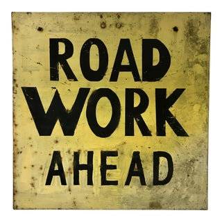 Vintage Industrial Road Work Sign