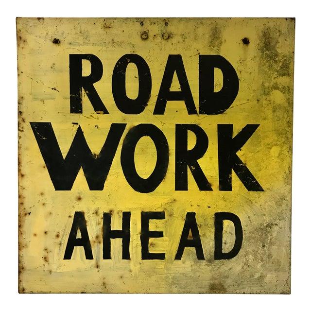 Vintage Industrial Road Work Sign For Sale