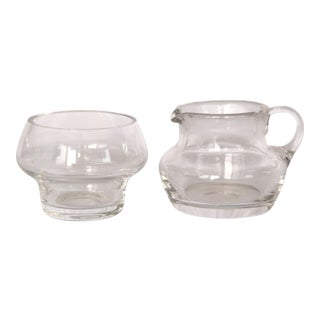 1960s Vintage Danish Crystal Sugar and Creamer - 2 Pieces For Sale