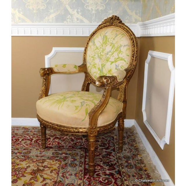 French Carved Giltwood Louis XVI Parlor Set - S/4 - Image 7 of 10