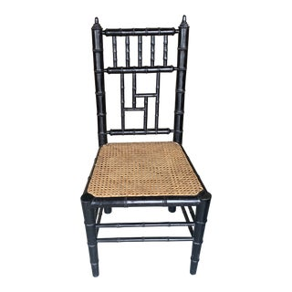 Black Faux Bamboo Cane Chair For Sale
