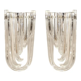 Italian Contemporary Clear Glass Wall Sconces - a Pair For Sale