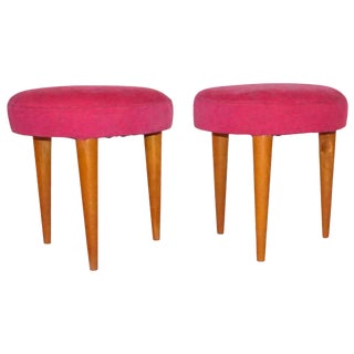 1960s Pink Upholstered Walnut Round Stools From Italy - a Pair For Sale