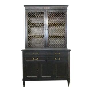 Ebonized Antique Style Napolean III Cabinet Bookcase
