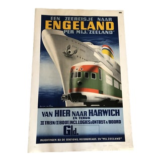 Large German Antique Advertisement Poster For Sale