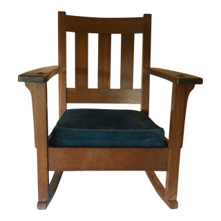 Early 20th Century Arts and Crafts Mission Charles Limbert Rocking Chair For Sale
