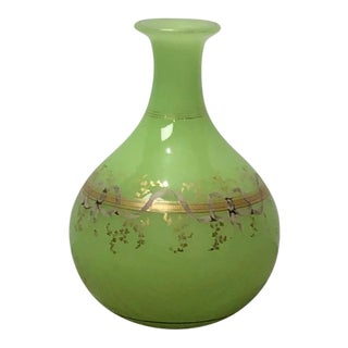 Green Opaline Glass Vase, France Circa 1860 For Sale