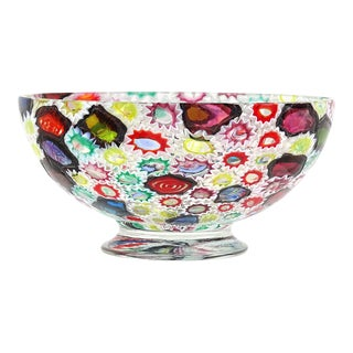 Fratelli Toso Murano Vintage Millefiori Flower Star Mosaic Italian Art Glass Mid Century Footed Bowl For Sale