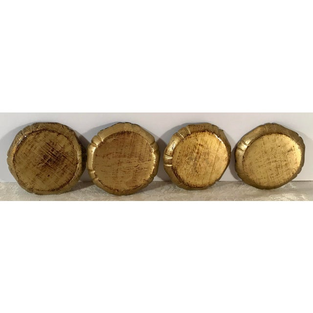 Wood Italian Wooden Gold Florentine Coasters - Set of 4 For Sale - Image 7 of 11