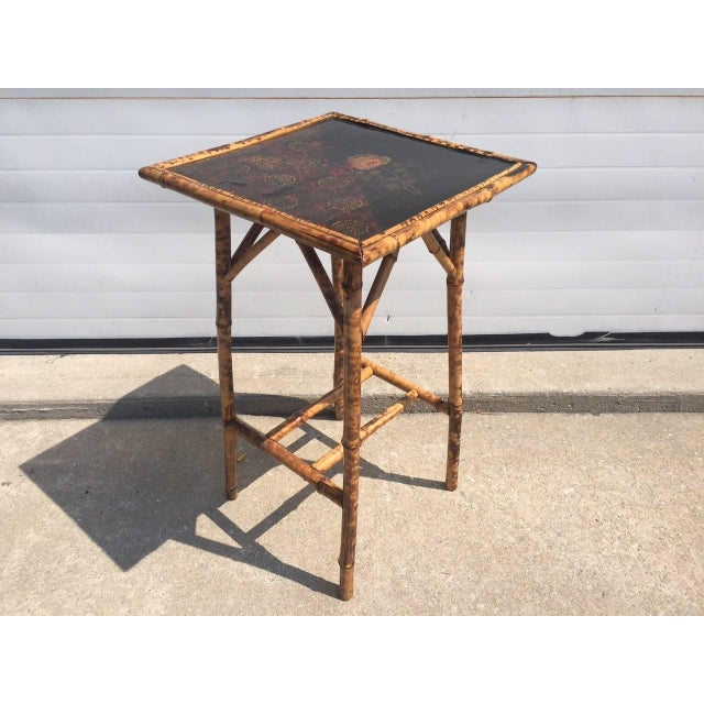 Antique Chinoiserie Scorched Bamboo Side Table Chairish