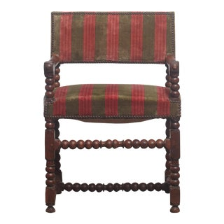 19th Century Vintage French Carved Walnut Louis XIII Armchair For Sale