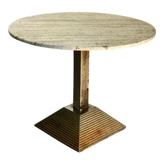 Pyramid Base Bistro Table With Travertine Top For Sale