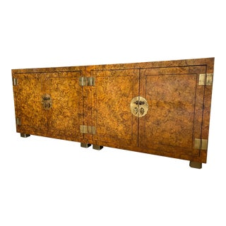 Henredon Lacquered Faux Tortoise Shell Patinated Cabinets, a Pair For Sale