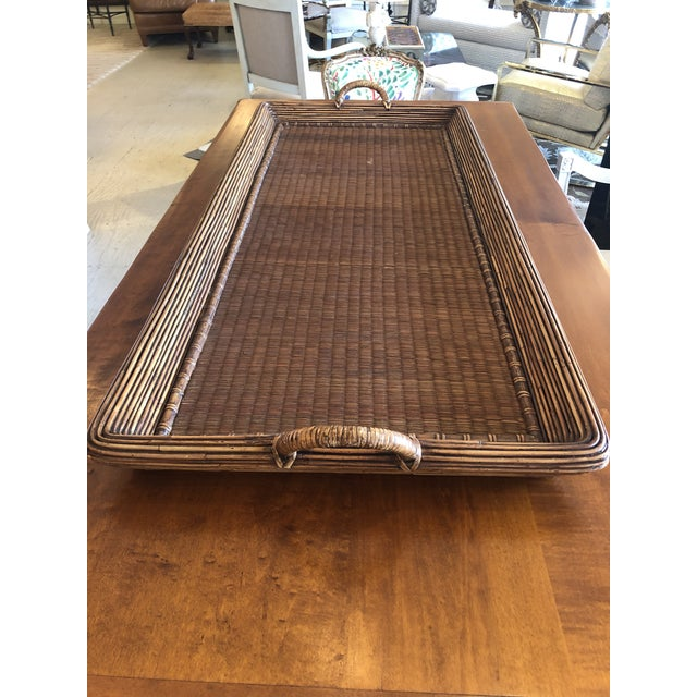 Wood Wicker Rattan and Seagrass Handled Gallery Tray For Sale - Image 9 of 11