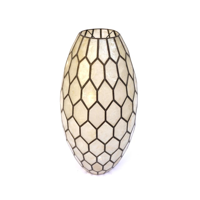 Gorgeous and extremely chic large scale bullet shaped vintage capiz shell lighting shade. This beauty is perfect for a...