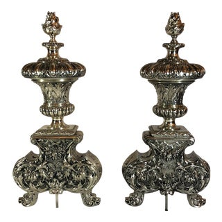 Pair Exceptional Antique French Louis XVI Silvered Bronze Andirons, Circa 1810-1820.
