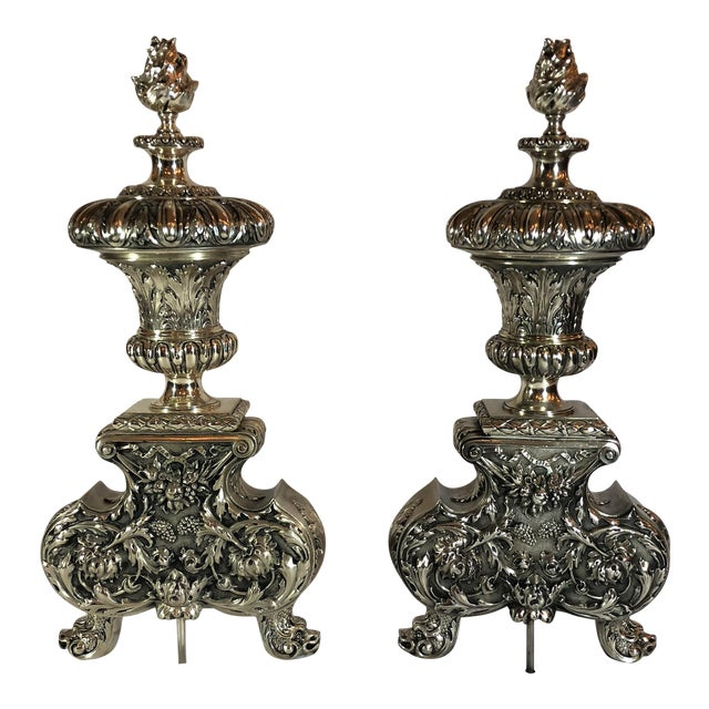 Pair Exceptional Antique French Louis XVI Silvered Bronze Andirons, Circa 1810-1820. For Sale