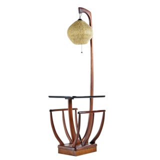 Walnut Magazine Rack Spaghetti Globe Floor Lamp For Sale
