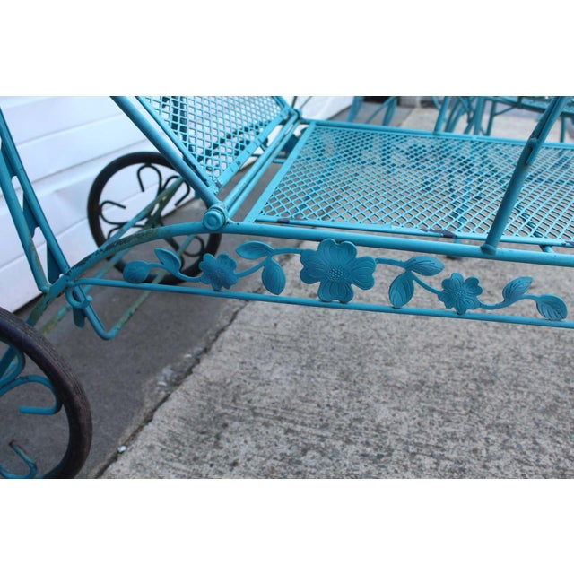 Metal Mid Century Modern Aqua Blue Wrought Iron Patio Set With Lounge on Wheels For Sale - Image 7 of 13