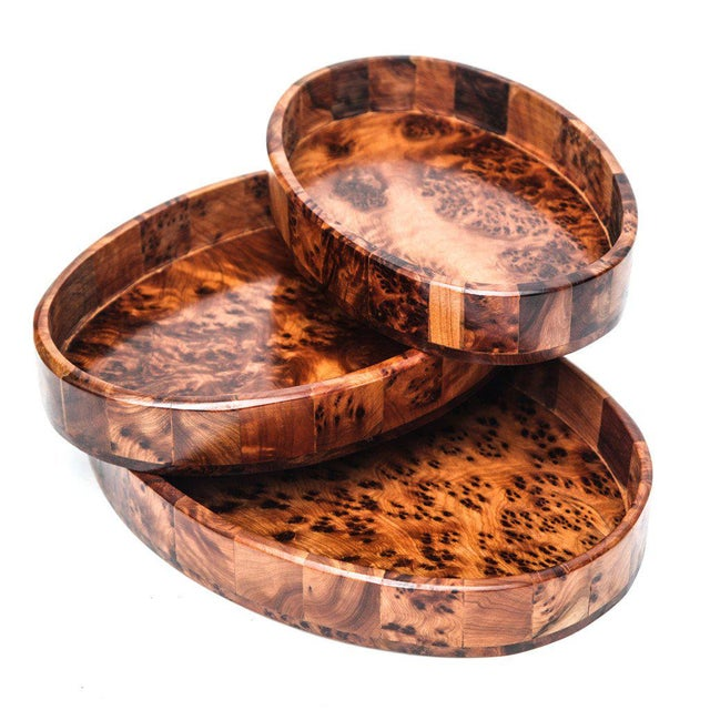 Contemporary Atlas Thuya Wood Trays - Set of 3 For Sale - Image 3 of 4