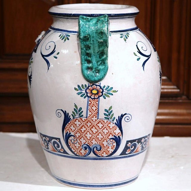 French Ceramic Hand-Painted Vase For Sale - Image 4 of 9