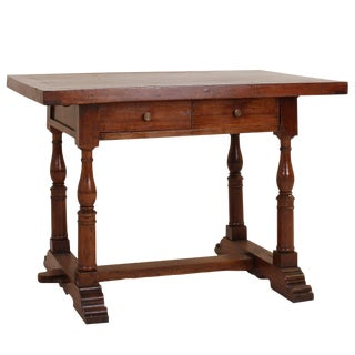 19th Century Italian Walnut Desk or Center Table For Sale