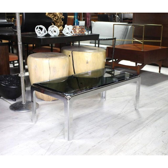 Chrome and Smoke Glass Top Rectangular Coffee Table For Sale In New York - Image 6 of 6