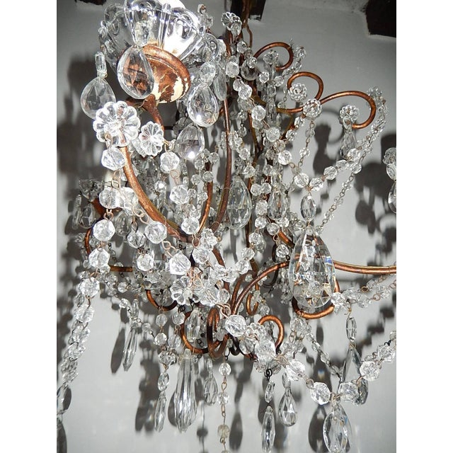 1920, French, Swags and Crystal Prisms Chandelier For Sale - Image 4 of 9