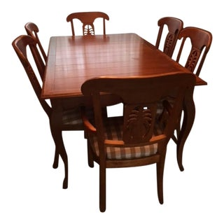 Ethan Allen French Country Dining Table With Six Chairs and Two Leaves For Sale