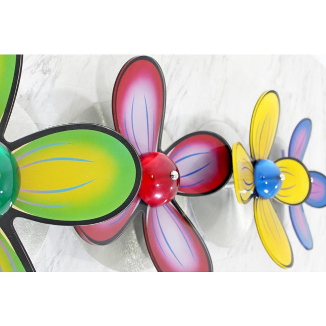 2000 - 2009 Contemporary Polished Metal Colored Lucite Acrylic Flower Wall Sculpture Haziza For Sale - Image 5 of 7