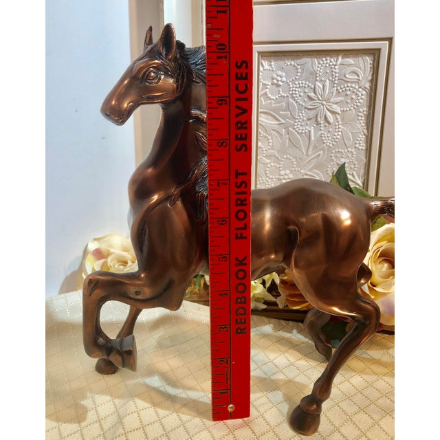 Late 20th Century Copper Plated Brass Stallion Horse Figurine For Sale - Image 5 of 13